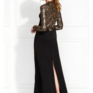 Miabella Embellished Satin-Backed Crepe Gown